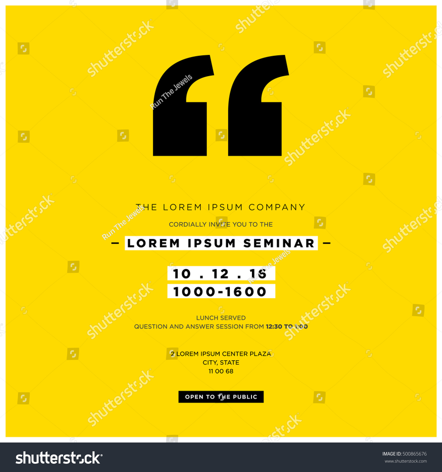 business seminar invitation design template with stock vector