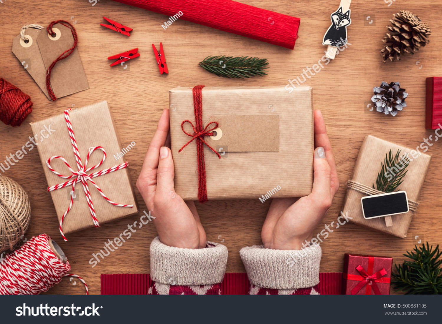 Christmas gifts wrapping ideas. Packing perfect presents. Close up on female hands. Wooden & Christmas Gifts Wrapping Ideas Packing Perfect Stock Photo u0026 Image ...