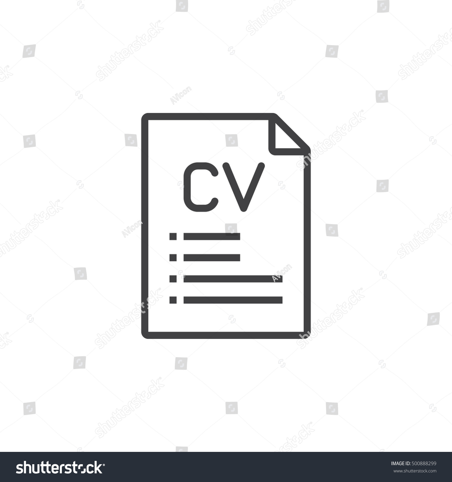 cv resume line icon outline vector stock vector 500888299