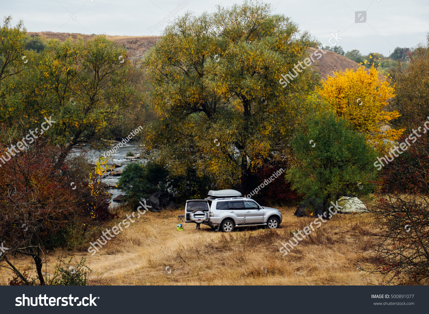 Tourist Tents Suv Car Green Forest Stock Photo (Edit Now) 500891077