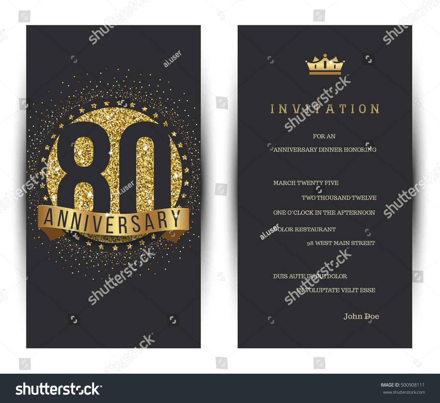 80th Wedding Anniversary Gift: 80th Anniversary Decorated Greeting Card Template Stock