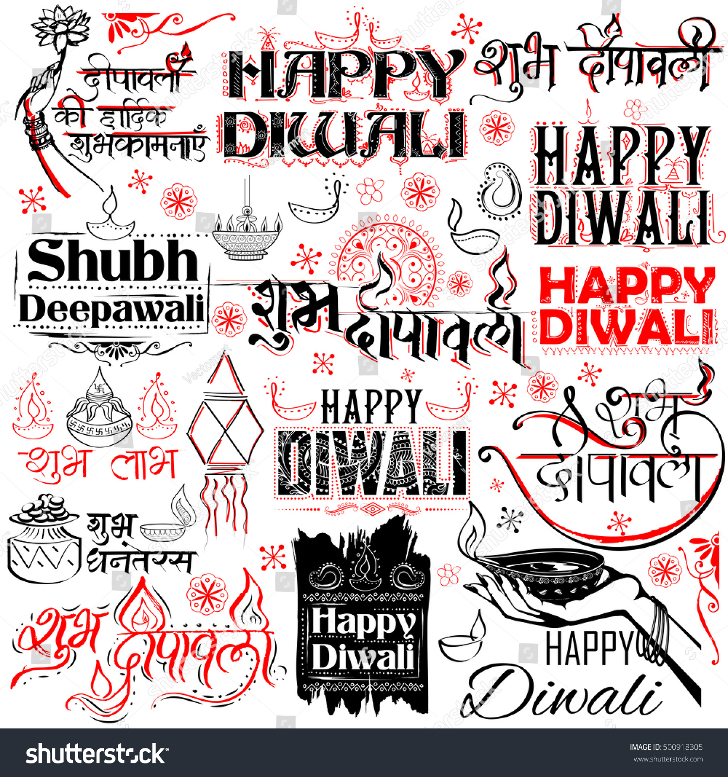 Illustration shubh deepawali happy diwali calligraphy