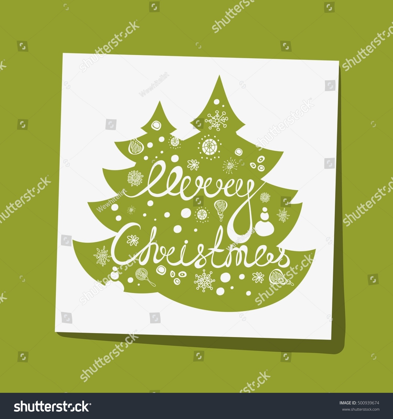Hand Drawing Text Merry Christmas Greeting Stock Vector 500939674