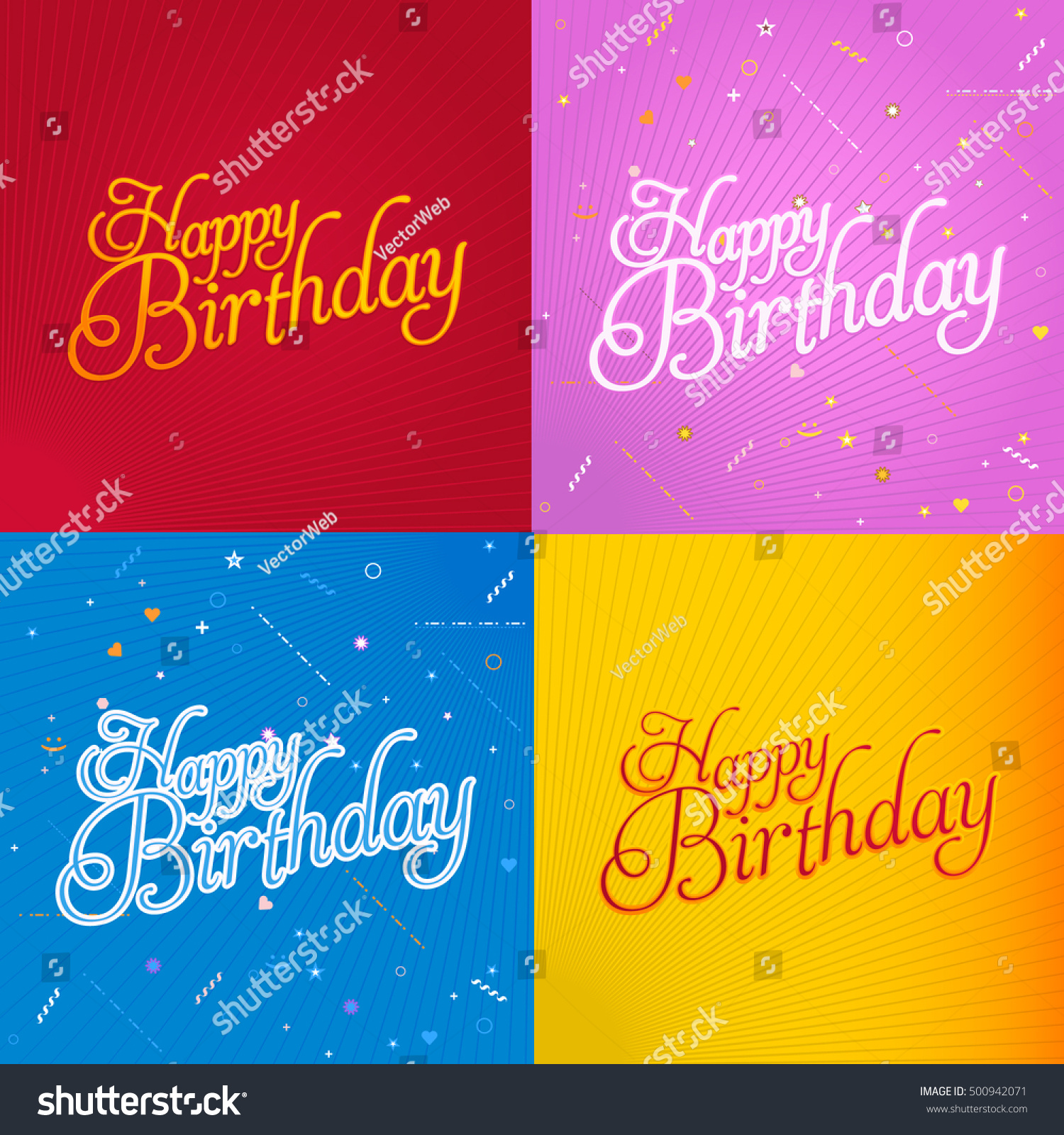 Stylish Text Happy Birthday Message Greeting Stock Vector 500942071
