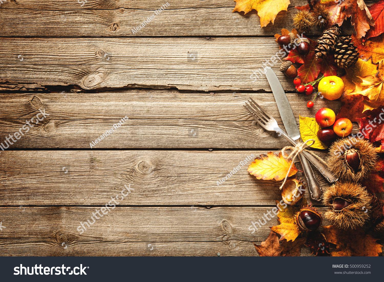 Border Fallen Leaves Fruits Vintage Silverware Stock Photo Royalty Free 500959252