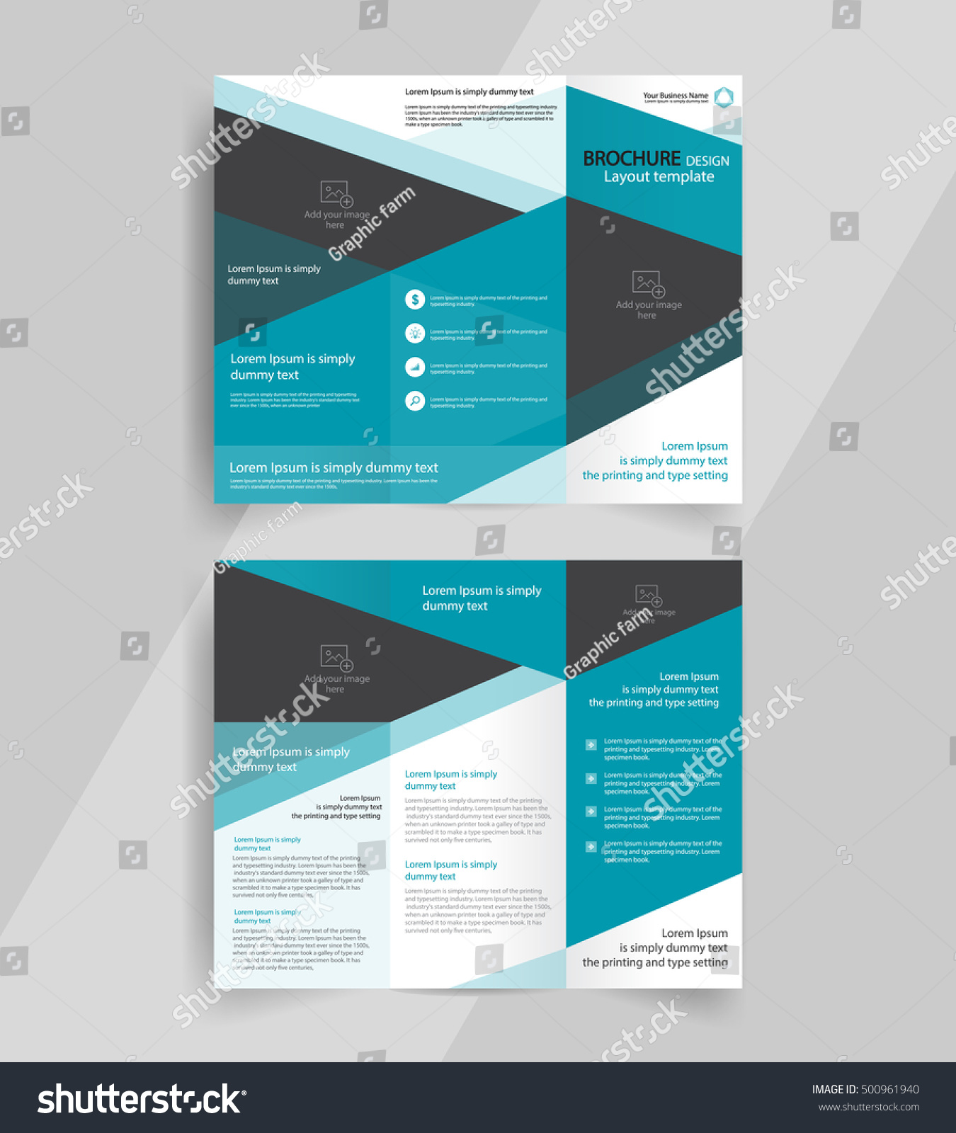 Business trifold brochure layout design vector stock for Brochure layout template