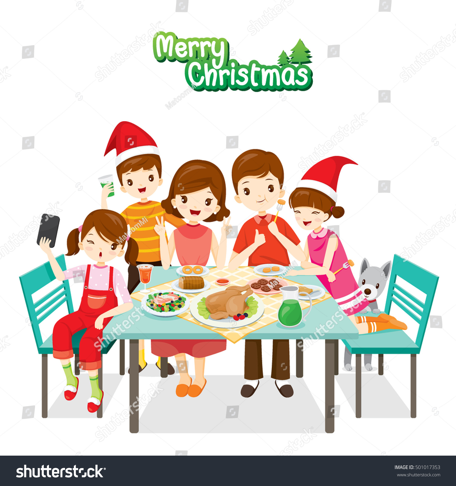 Happy Family Eating Together Merry ChristmasCelebrations Holiday