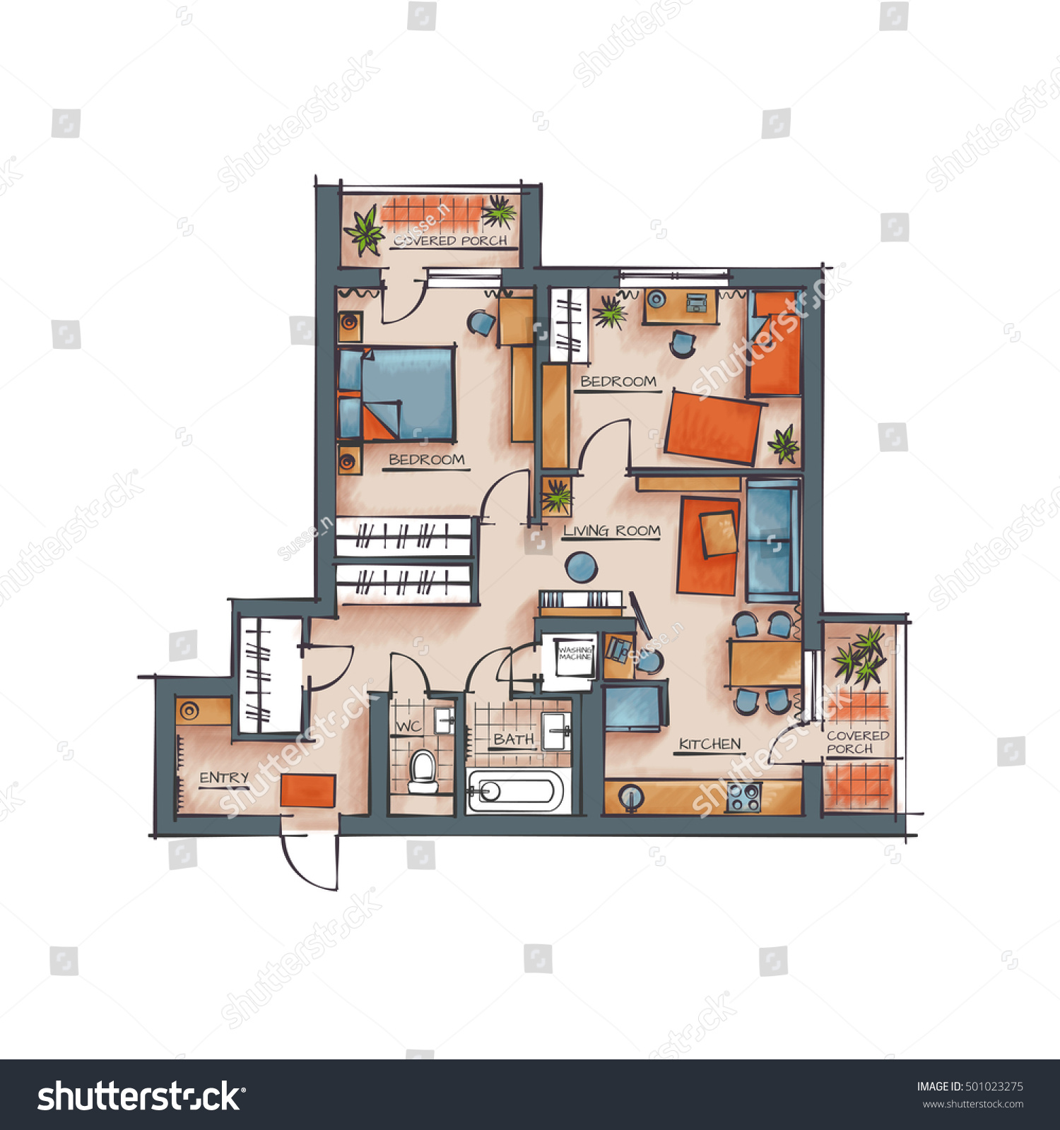 Architectural Color Floor Plan. Two Bedrooms Studio Apartment. Hand Drawn Style Rendering