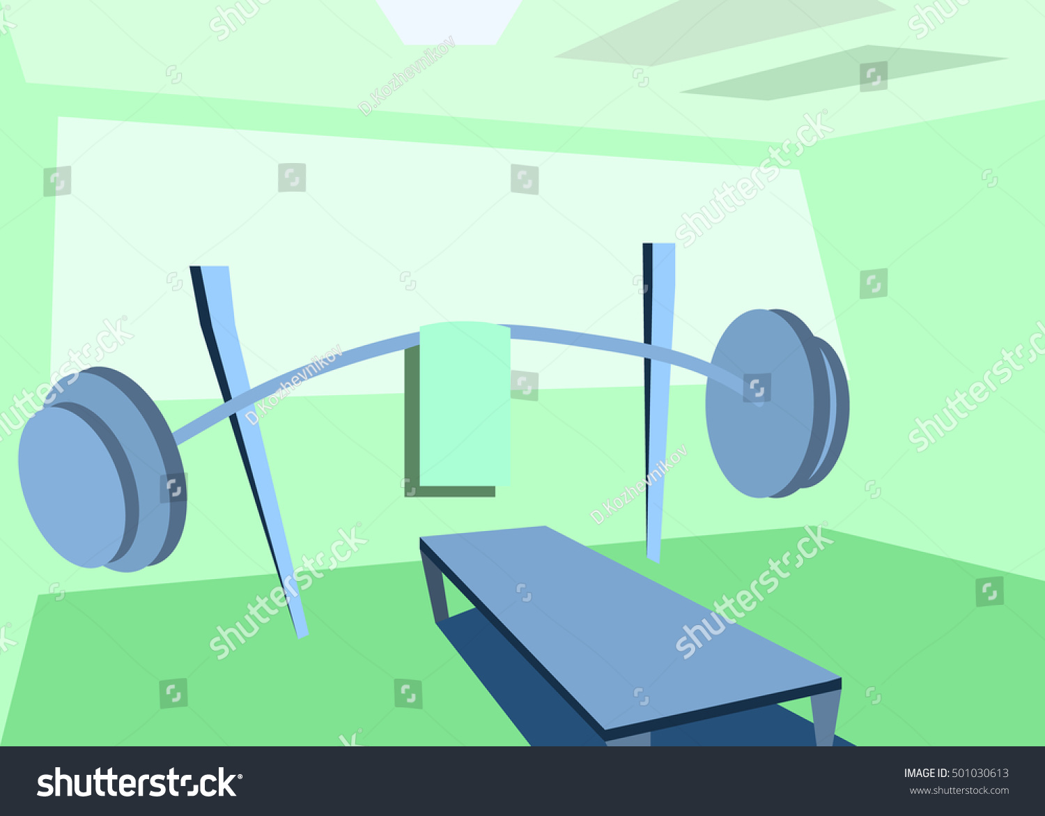 Gym room interior made flat design stock vector royalty free
