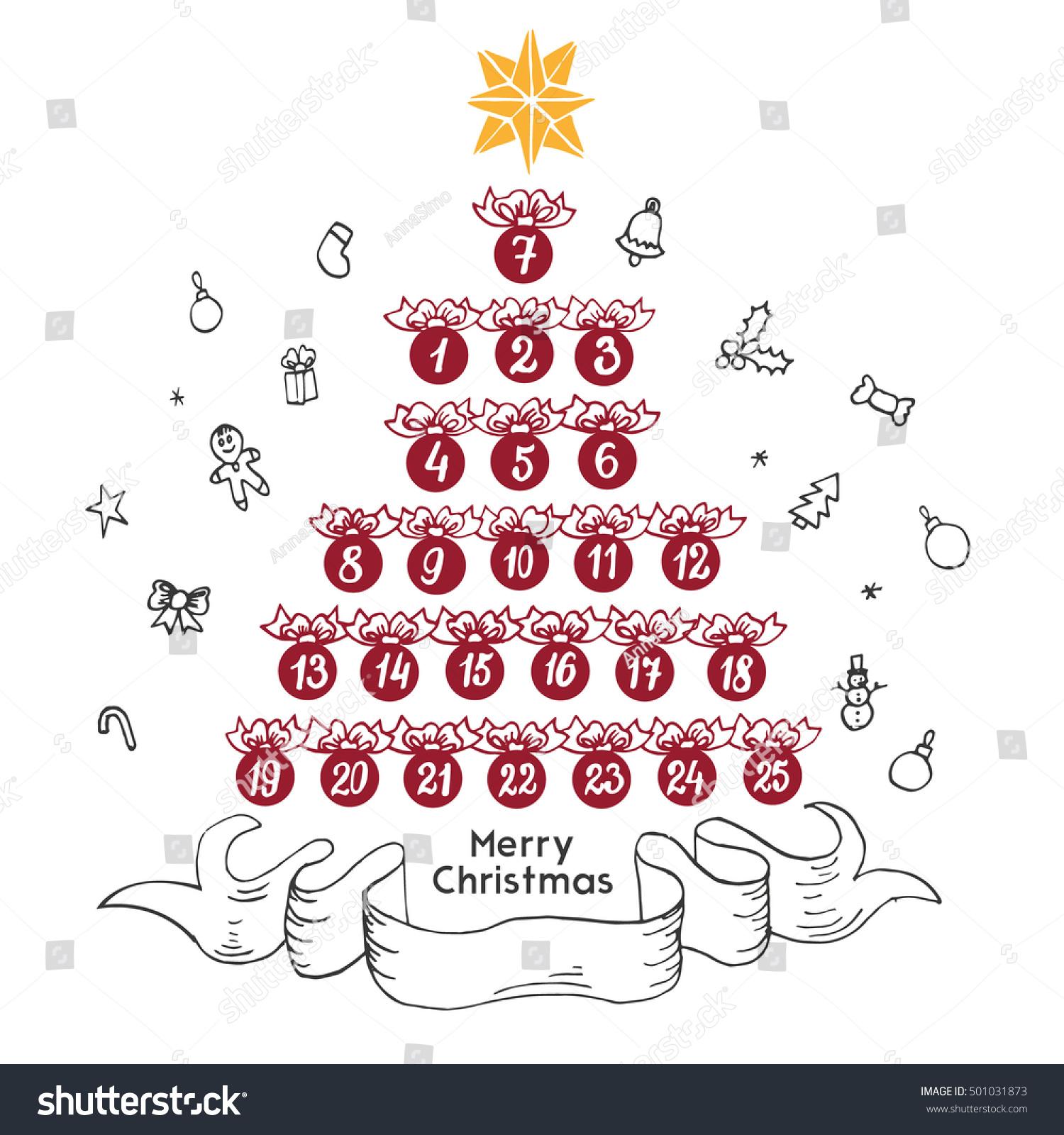 Christmas Advent Calendar Form Christmas Trees Stock Vector ...