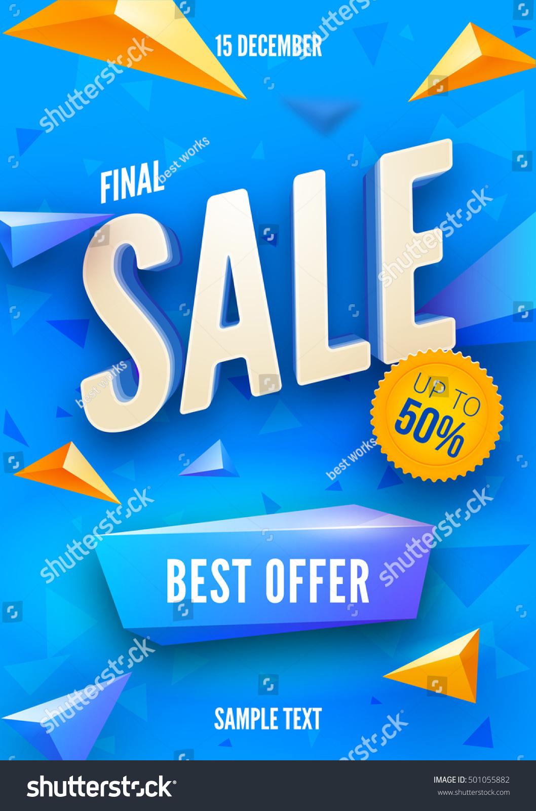 Poster design 3d - Final Sale Poster Or Flyer Design 3d Word Sale On Colorful Background Vector Illustration