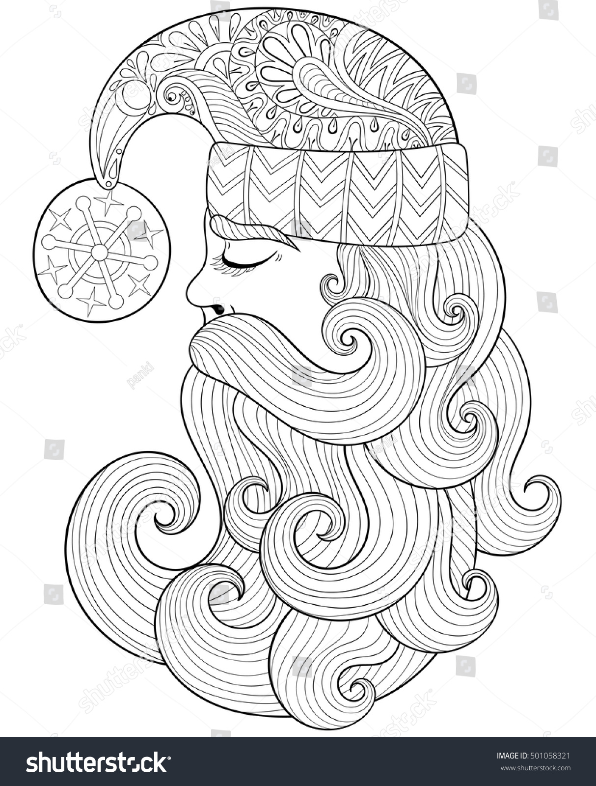 vector christmas illustration zentangle santa claus for adult antistress coloring pages hand drawn illustration