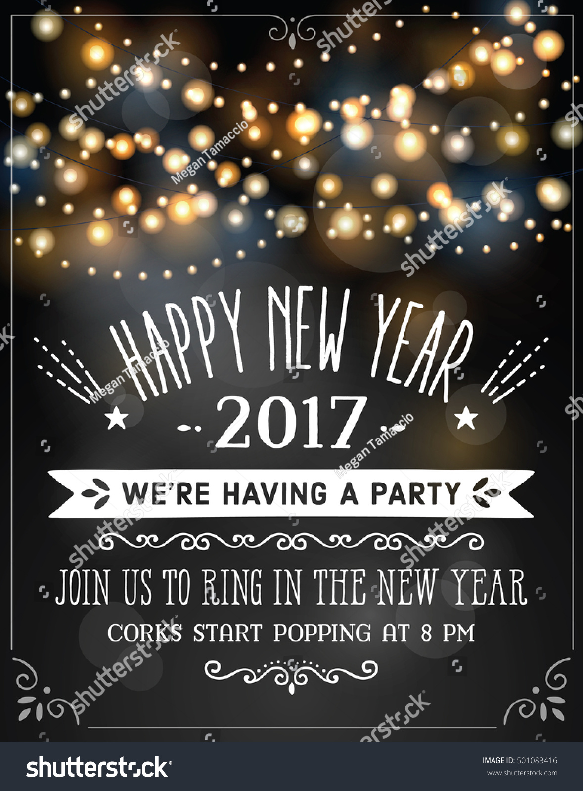 new years eve invitation over party lights background with sample text