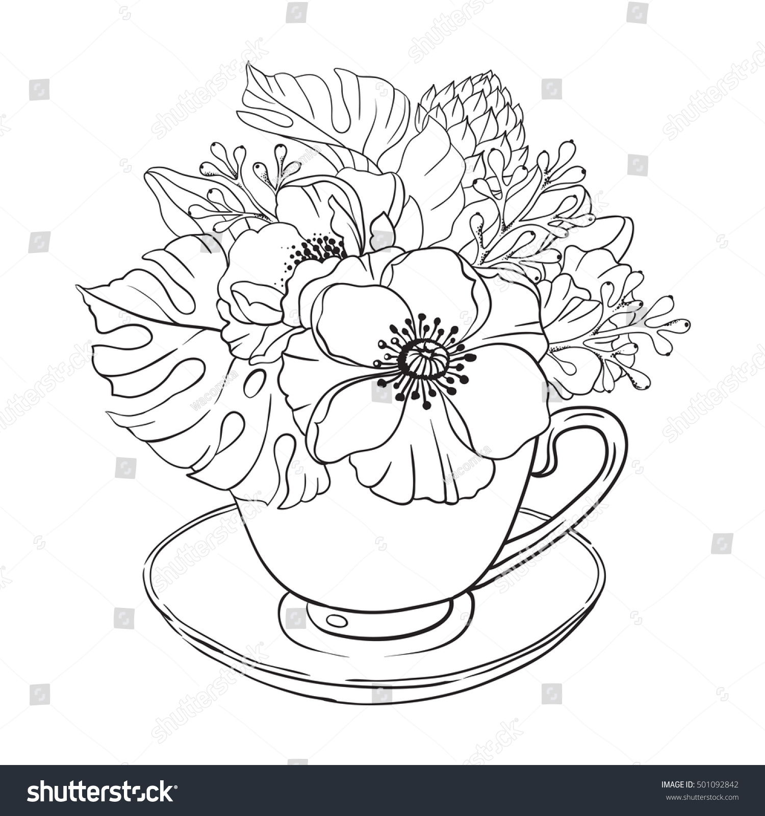 Vector Illustration Adult Coloring Page Flowers Bouquet Tea Cup Background