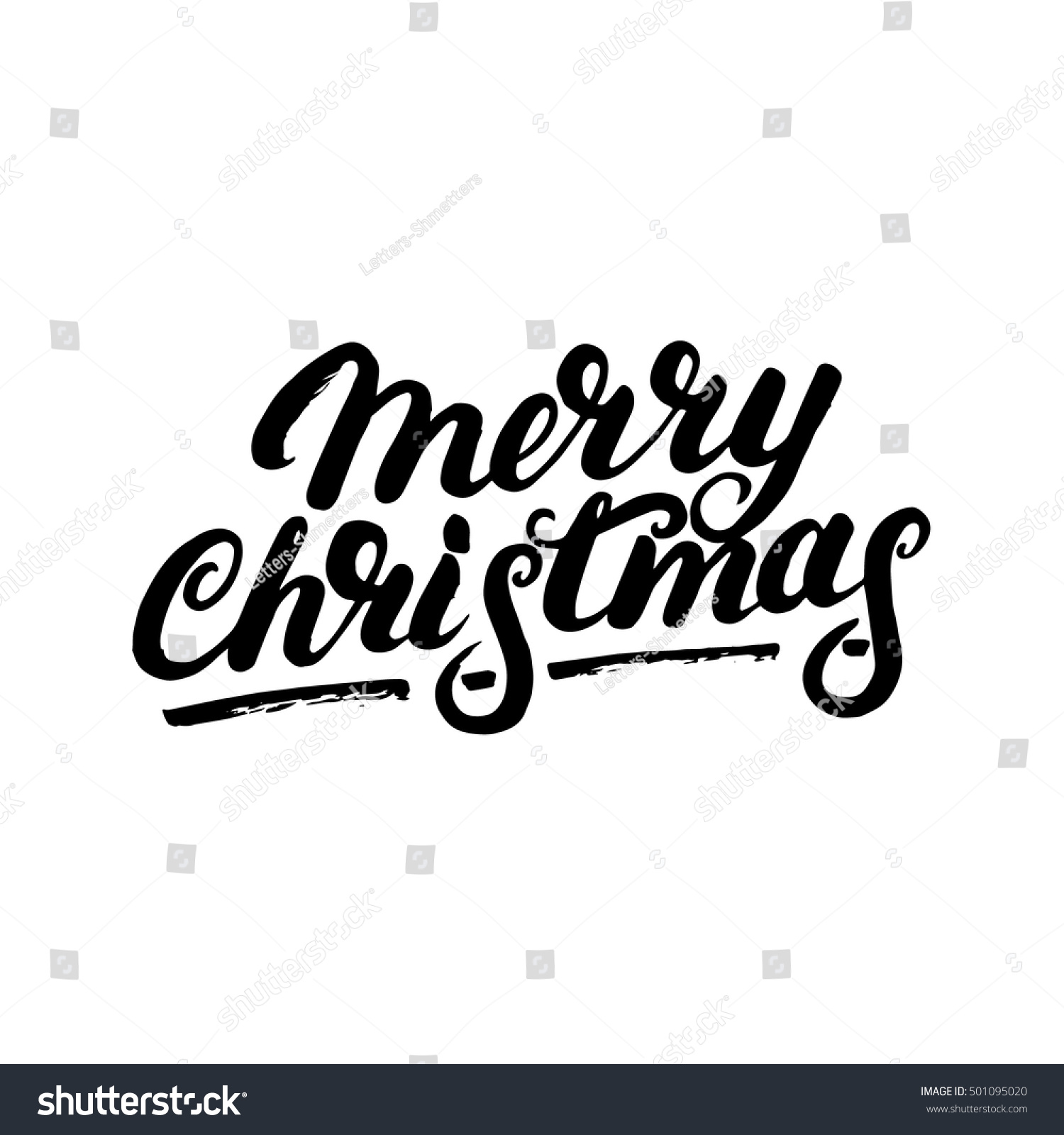 Merry christmas hand written lettering modern stock vector