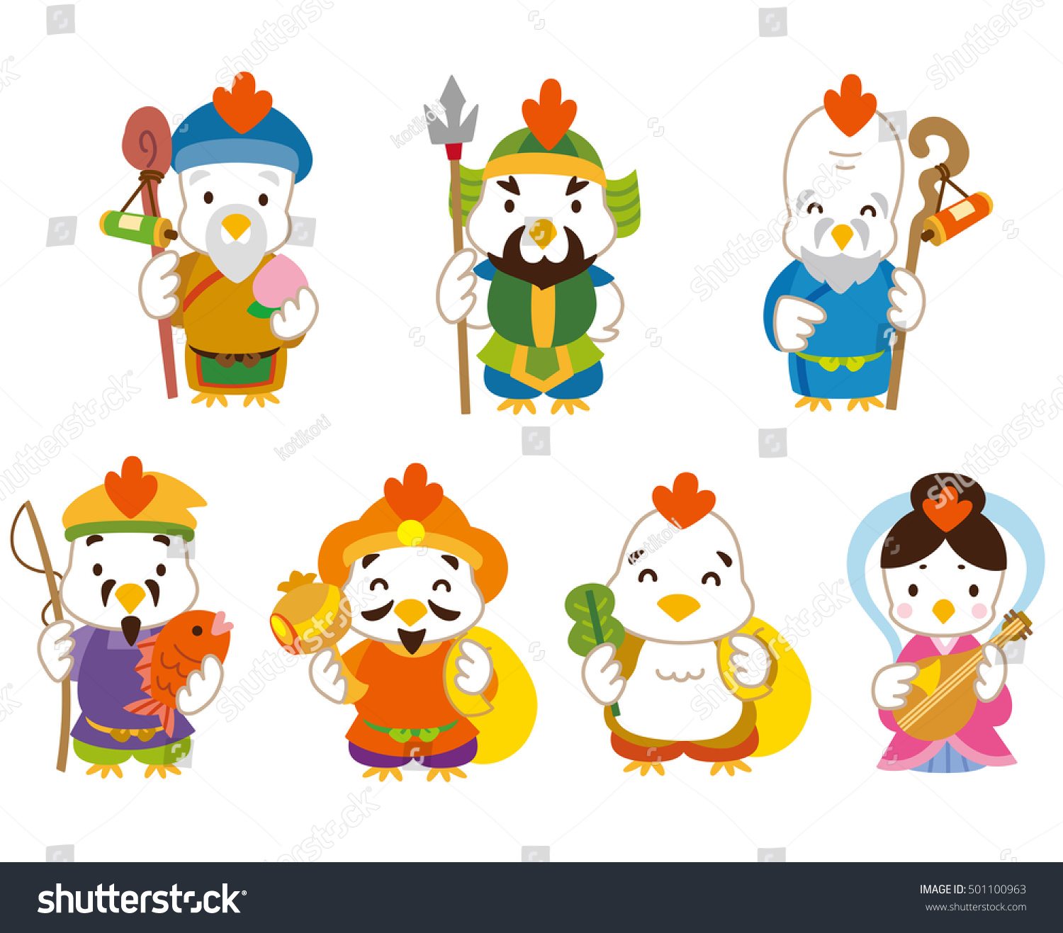 Seven deities of good fortune of the chicken