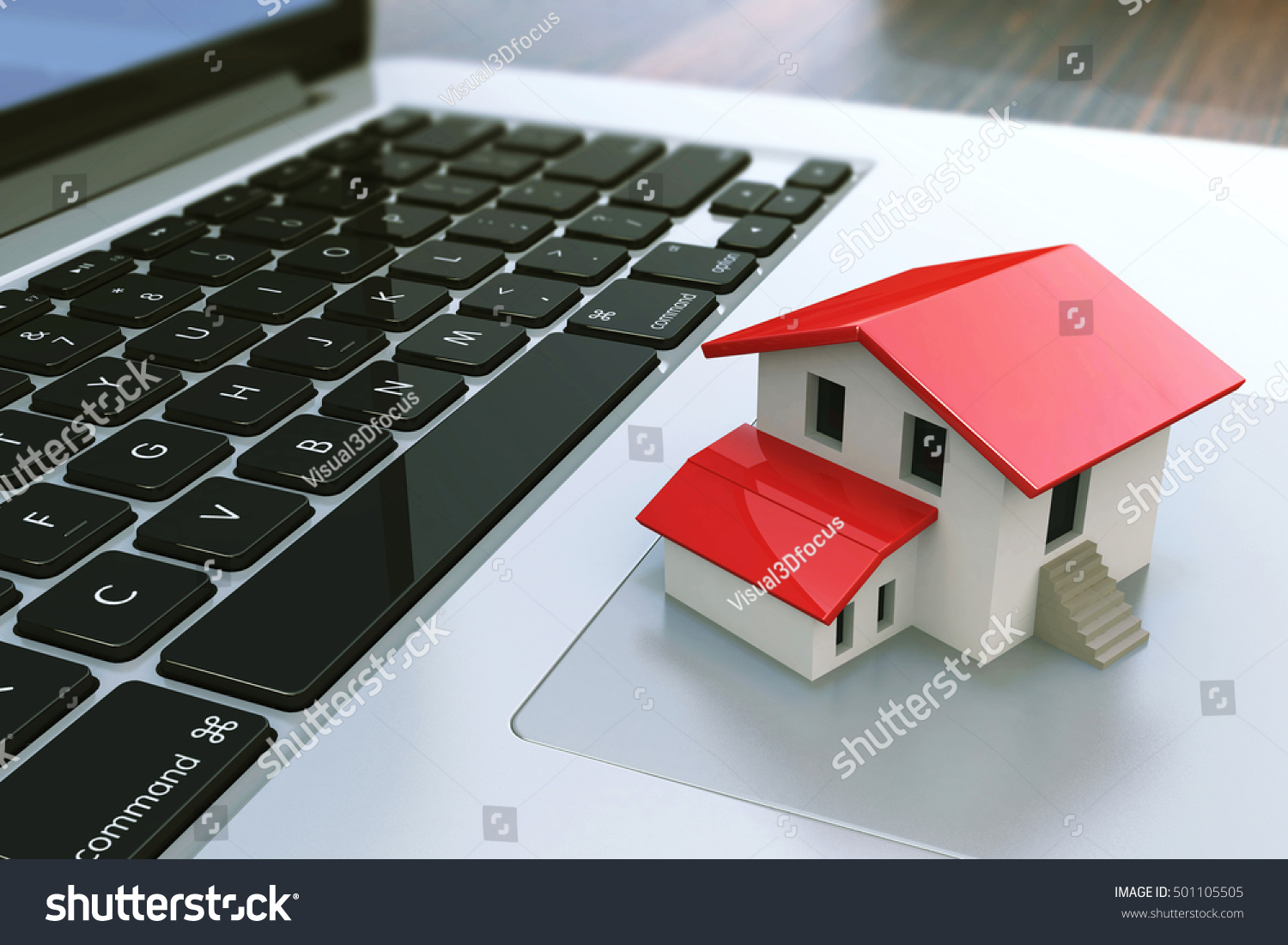 Small House On Laptop Keyboard Real Stock Illustration 501105505