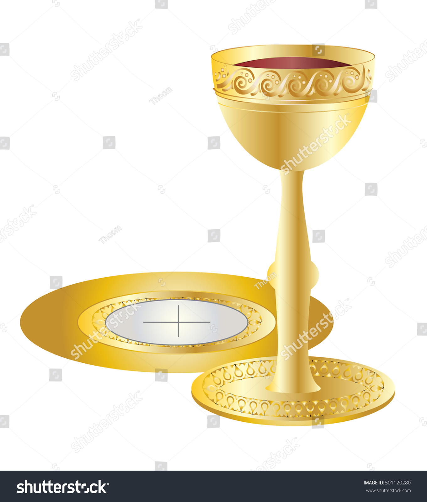 Eucharist Symbols Bread Wine Golden Chalice Stock Vector Royalty