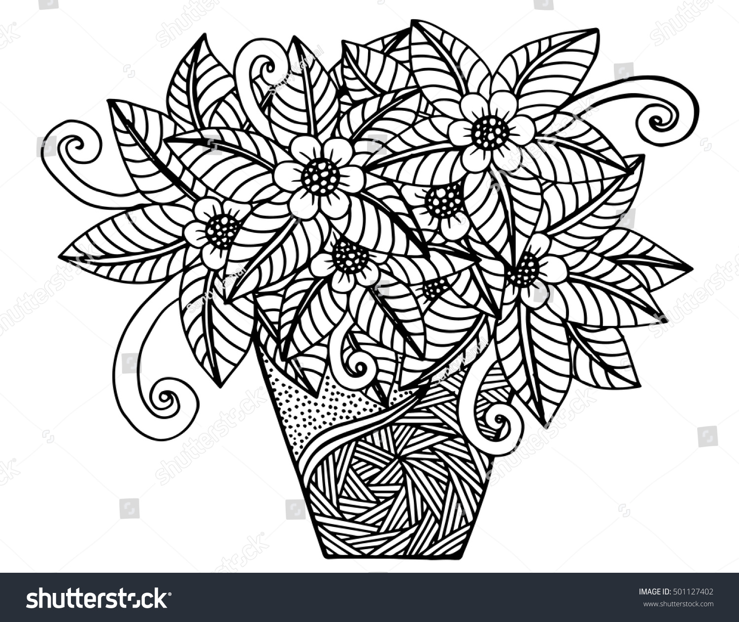 Vector Doodle Floral Illustrated Bouquet Flowers Stock Vector ...