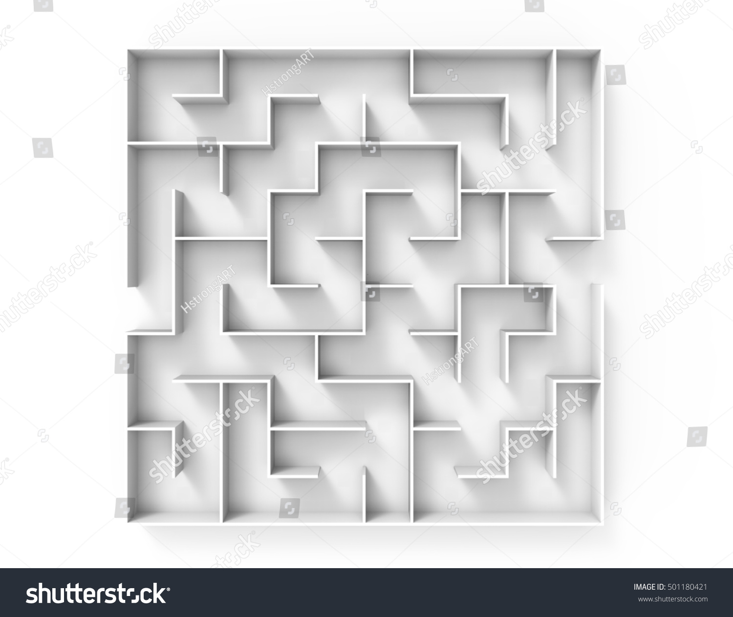 3 D Rendering Maze Top View Round Stock Illustration 501180421 ...