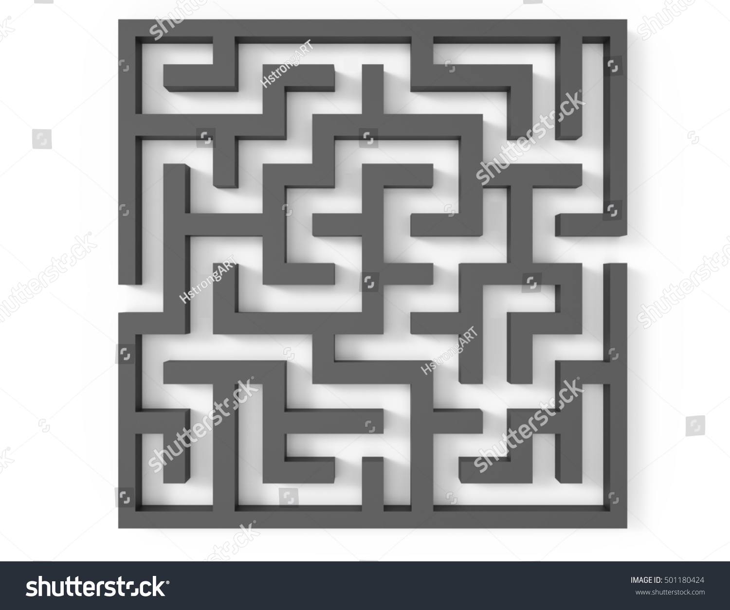 3 D Rendering Maze Top View Grey Stock Illustration 501180424 ...