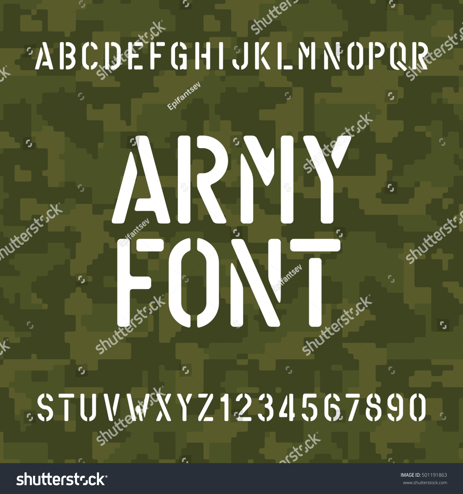 army alphabet font stencil type letters stock vector royalty free