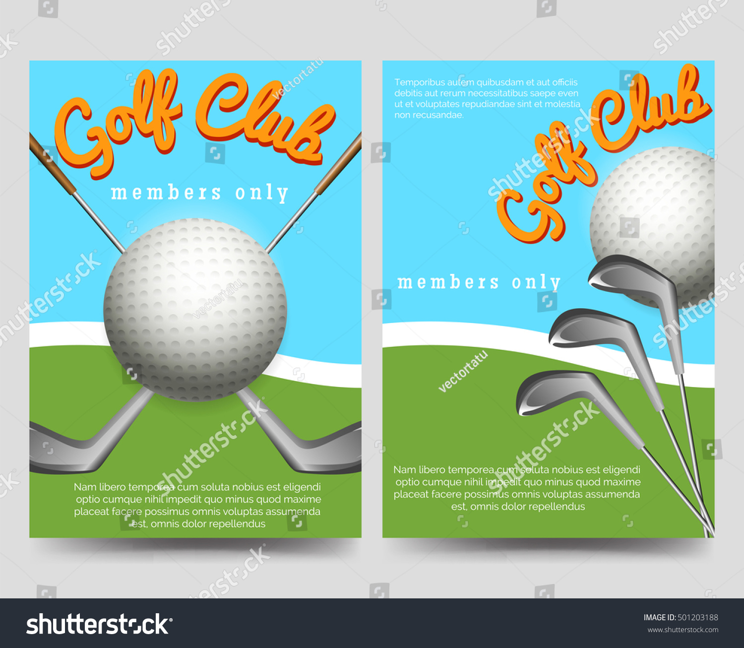Golf Club Brochure Flyers Template Vector Stock Vector Royalty Free
