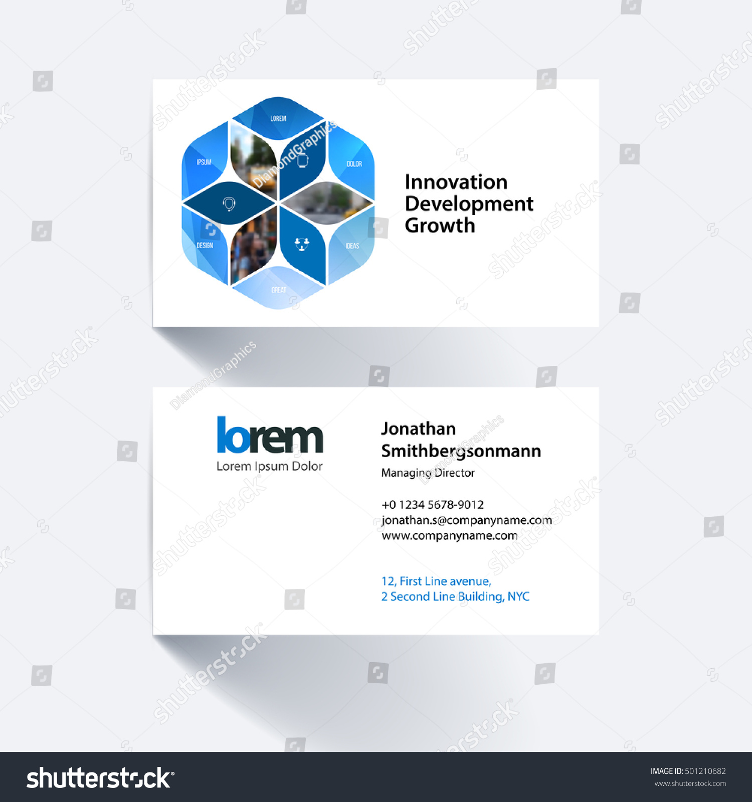 Vector Business Card Template Blue Rhombus Stock Vector 501210682 ...