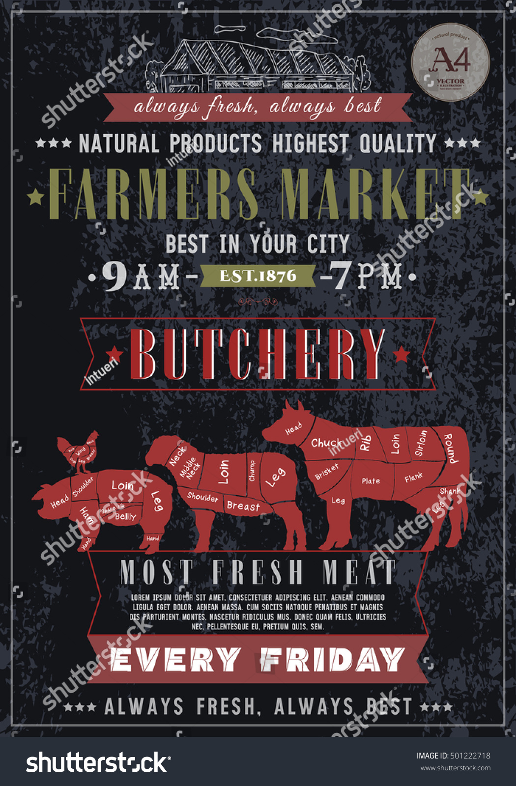 Butcher Shop Vintage Poster Fresh Meat Stock Vector 501222718 ...