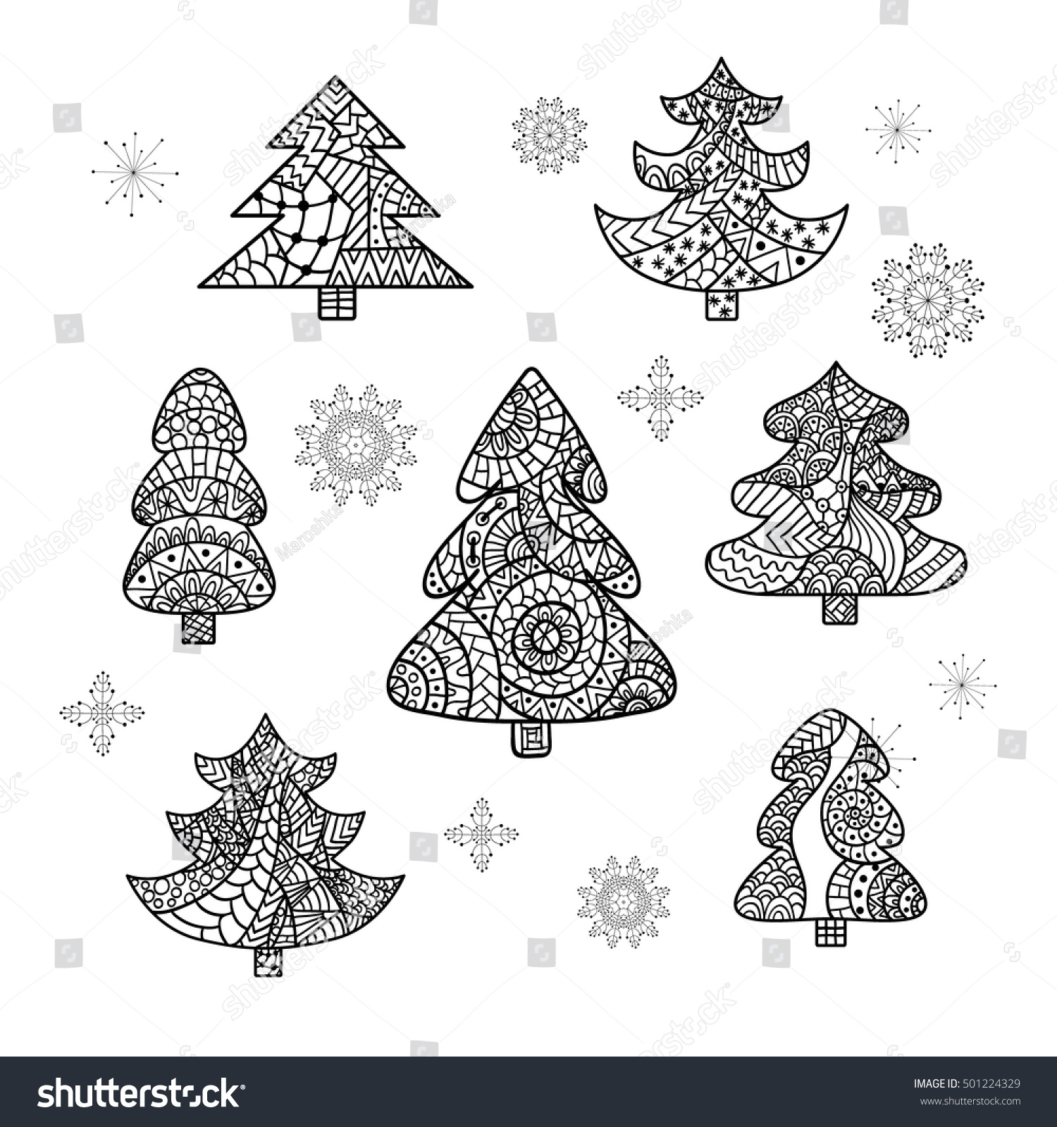 Set Christmas Trees Snowflakes Coloring Page Stock Photo (Photo ...