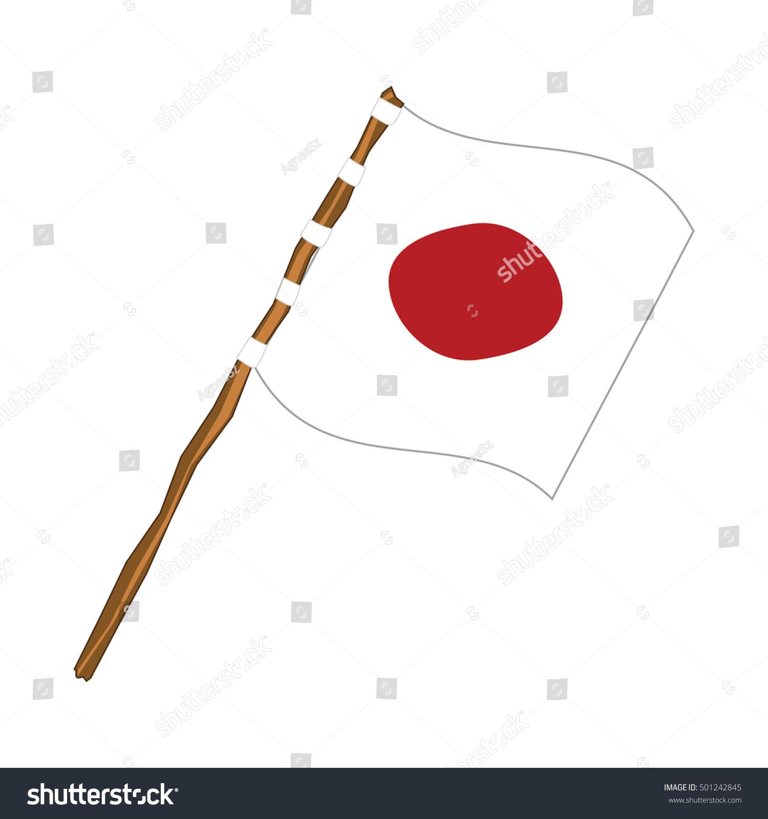 japanese flag on wooden pole stock vector 501242845 shutterstock
