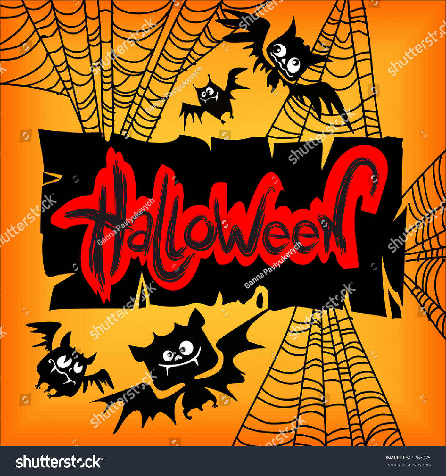 Vintage vector illustration - Halloween party invitation with a ...