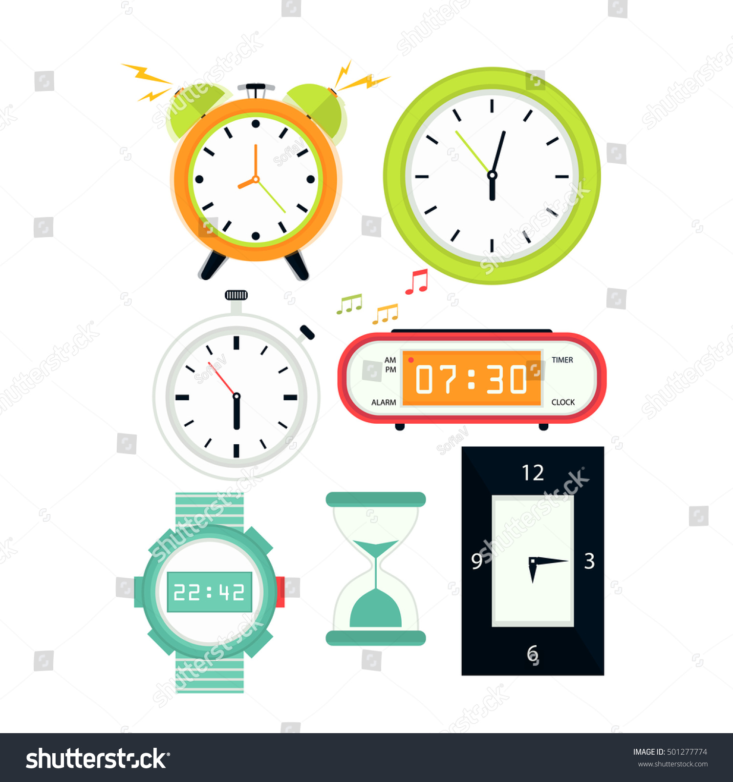 Types alarms clocks digital watch timer stock vector 501277774 types of alarms clocks digital watch and timer stopwatch and hourglass symbol of amipublicfo Choice Image