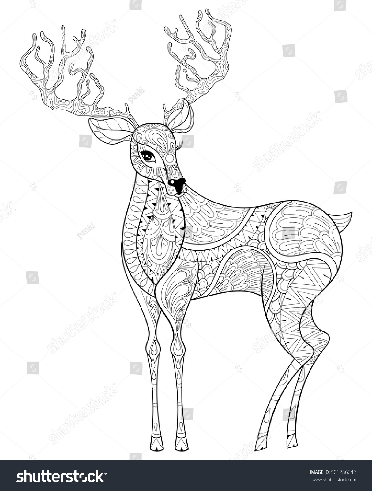 vector zentangle christmas reindeer horned elk stock vector