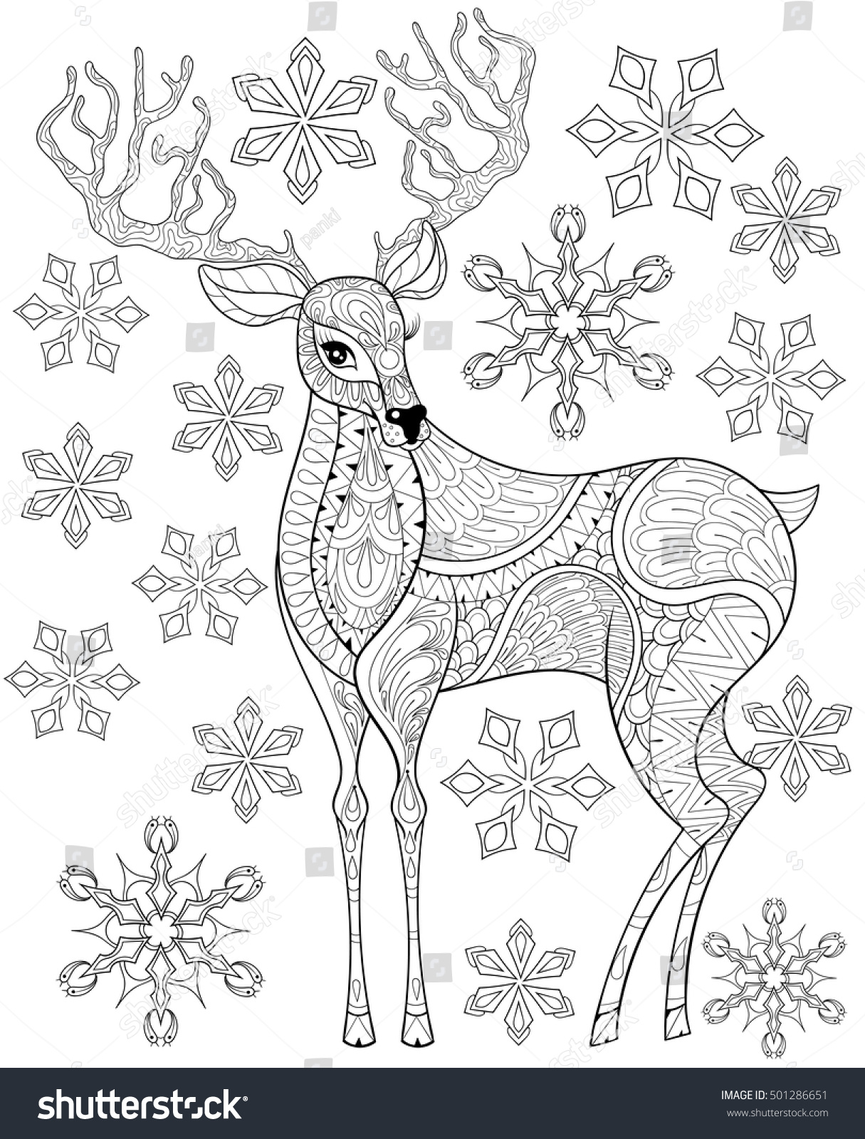 vector zentangle christmas reindeer on snowflakes for adult antistress coloring pages hand drawn illustration for