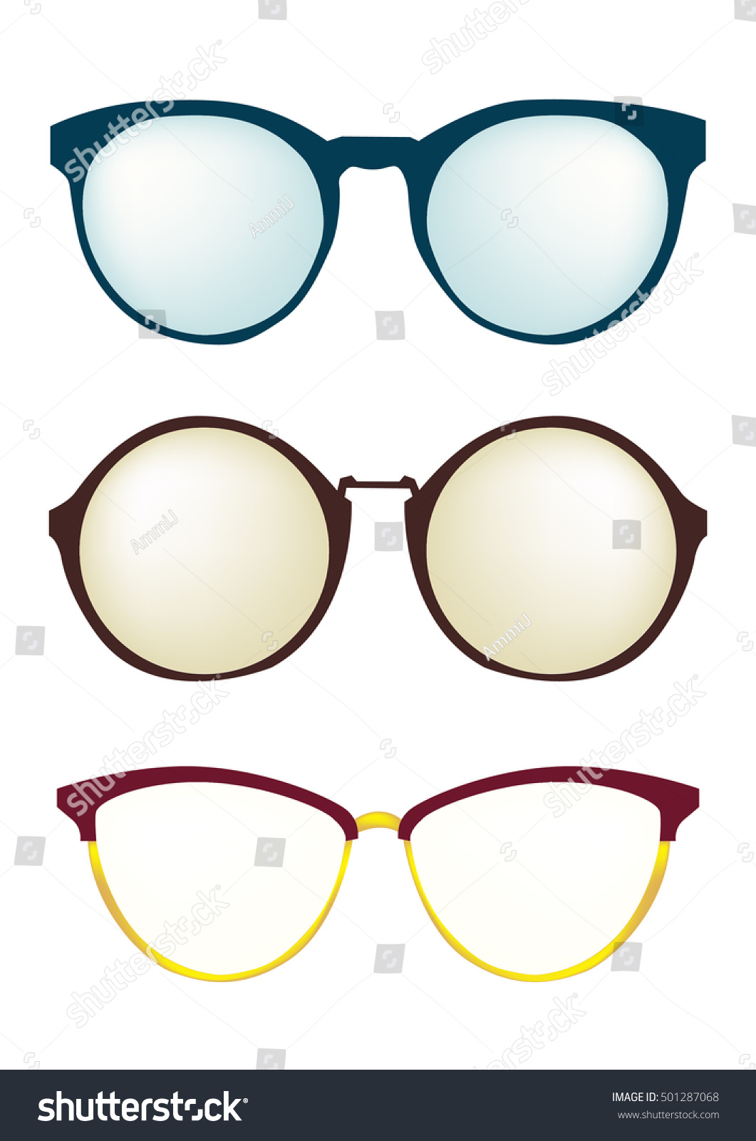 Fashion Glasses Frame Different Styles Set Stock Vector 501287068 ...