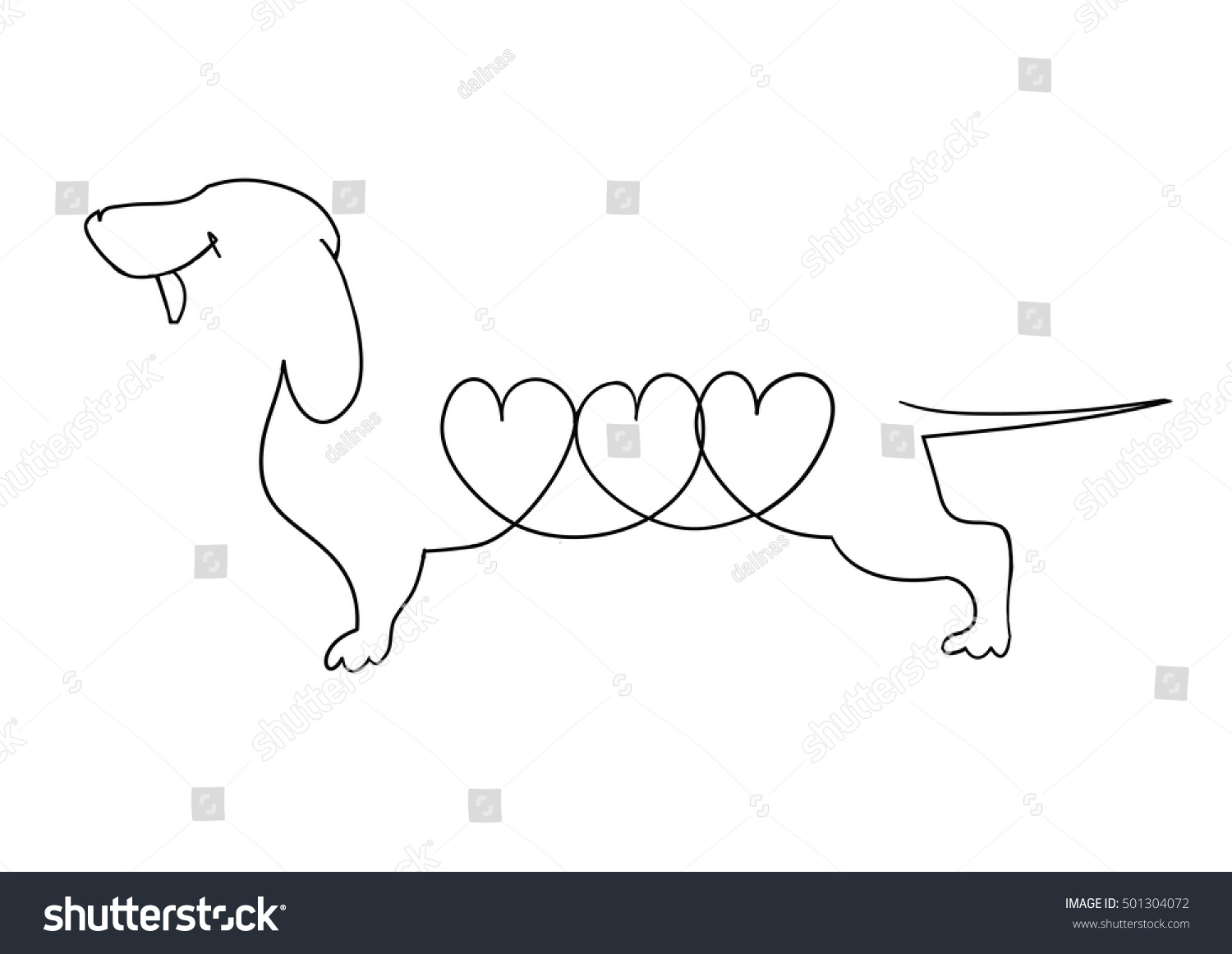 Dachshund Vector Illustration Drawn Freehand Original Linear Image