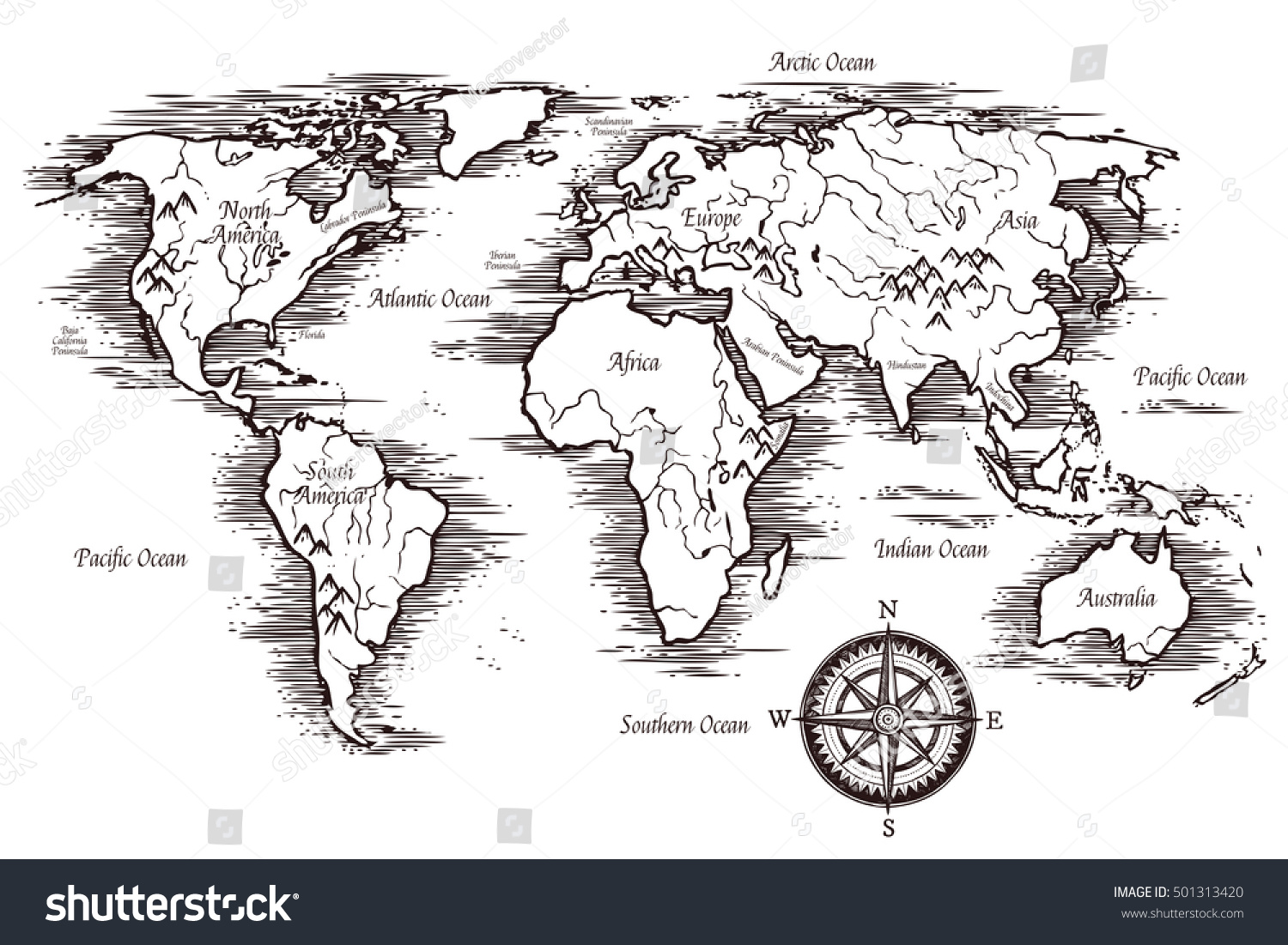 Sketch world map template black white stock vector 501313420 sketch world map template in black and white colors with titles of continents and oceans vector gumiabroncs Gallery
