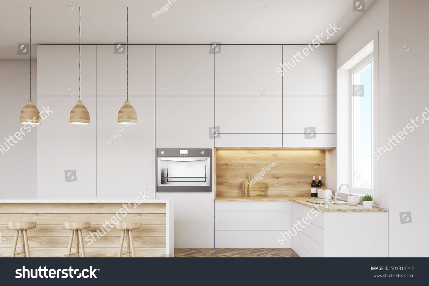 Front View Kitchen Oven Sink Countertops Stock Illustration ...
