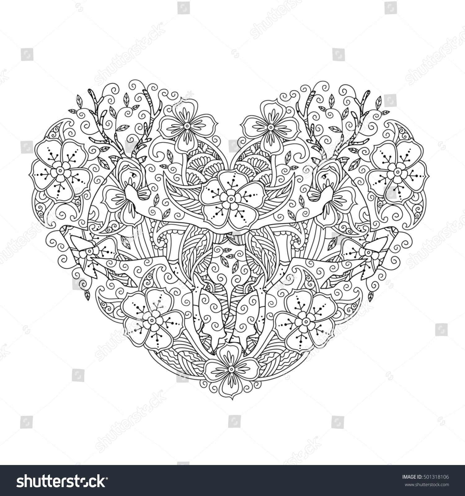 Coloring Page Running Deer Heart Love Stock Illustration 501318106 ...