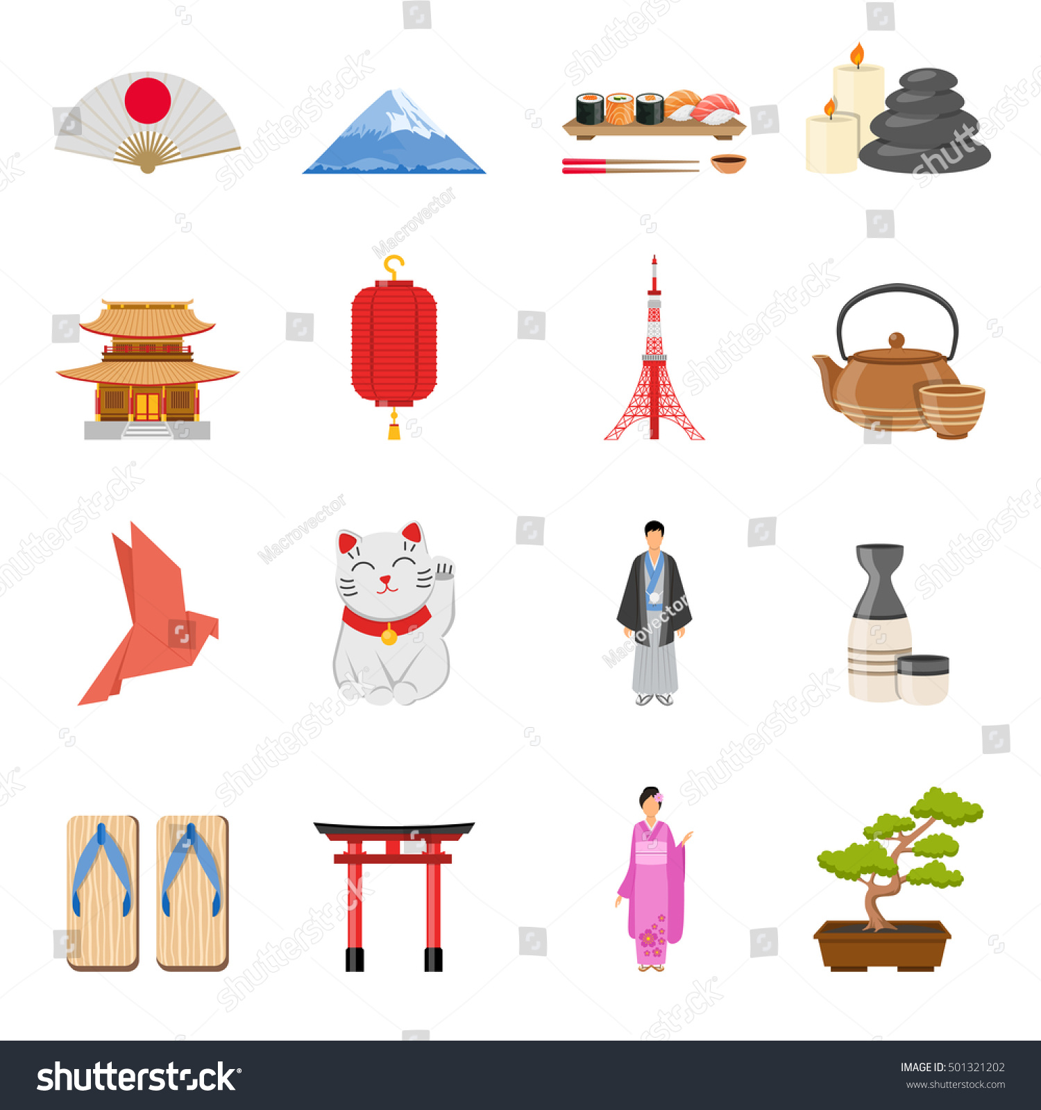 Japanese Culture Traditions National Symbols Flat Stock Vector