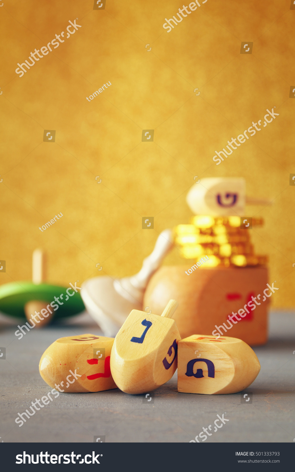 Image jewish holiday hanukkah wooden dreidels stock photo image of jewish holiday hanukkah with wooden dreidels colection spinning top and chocolate coins biocorpaavc
