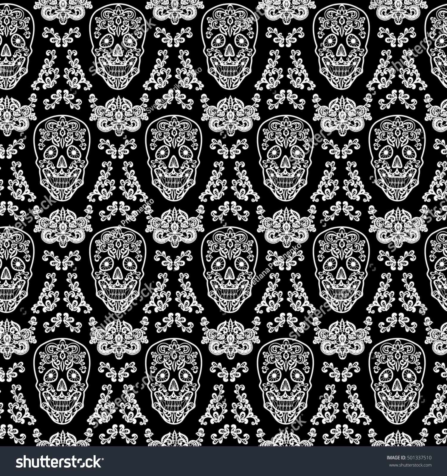 Day Of The Dead And Mexican Dia Los Muertos Background Black Lace