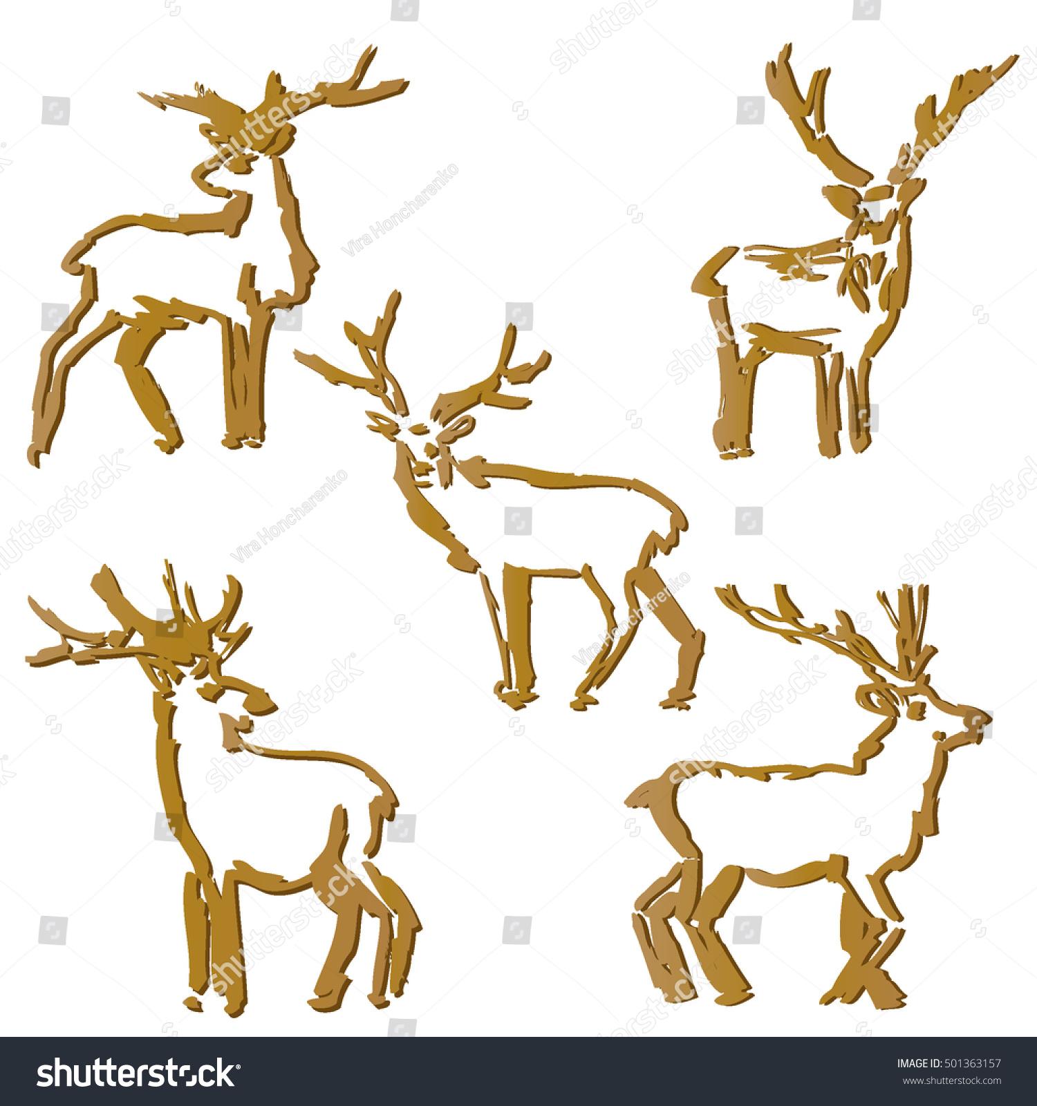 Snow Elk Opt Pack >> Christmas Deer Set Sketches Deer On Stock Vector 501363157 - Shutterstock