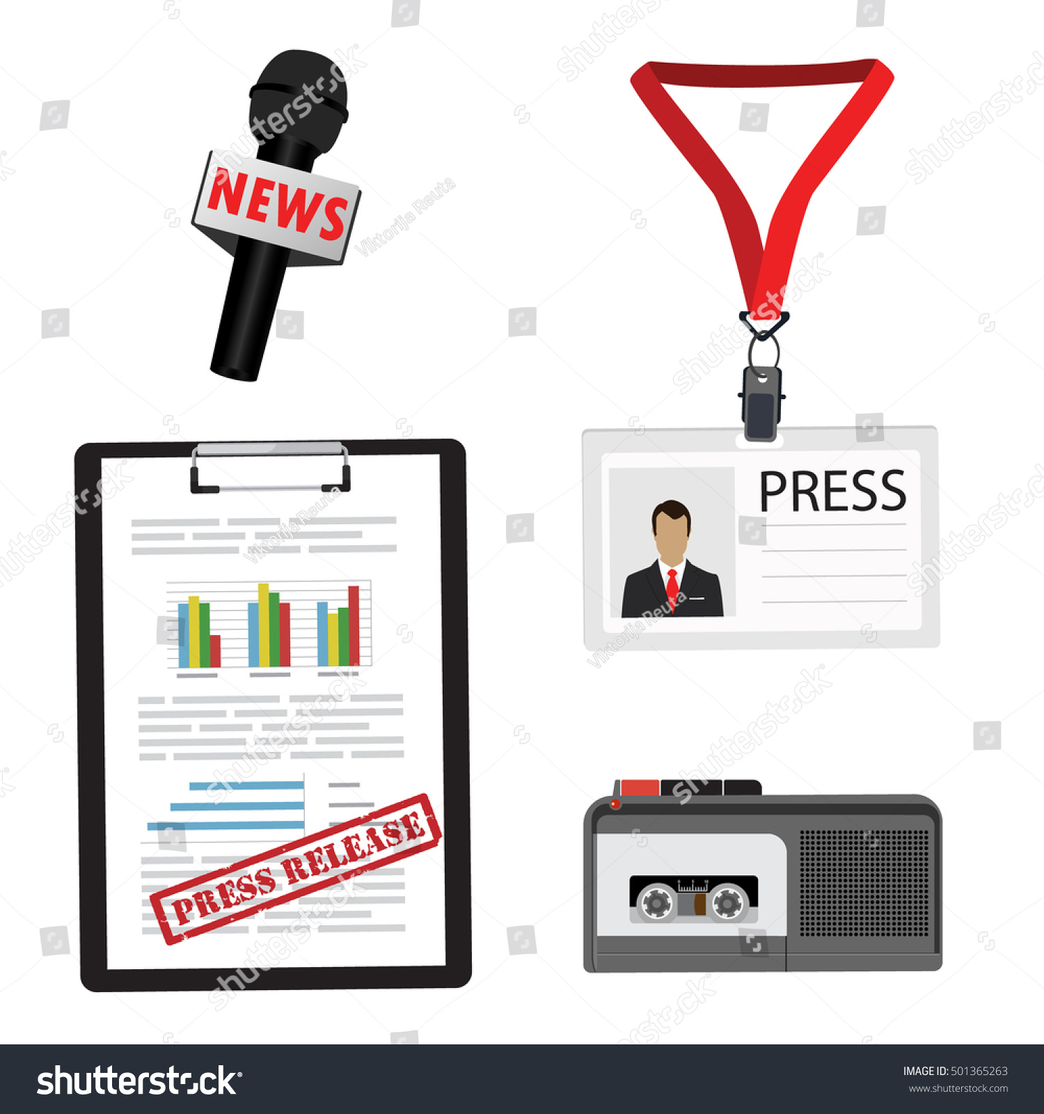 conference press release template - journalist reporter vector icon set dictaphone stock