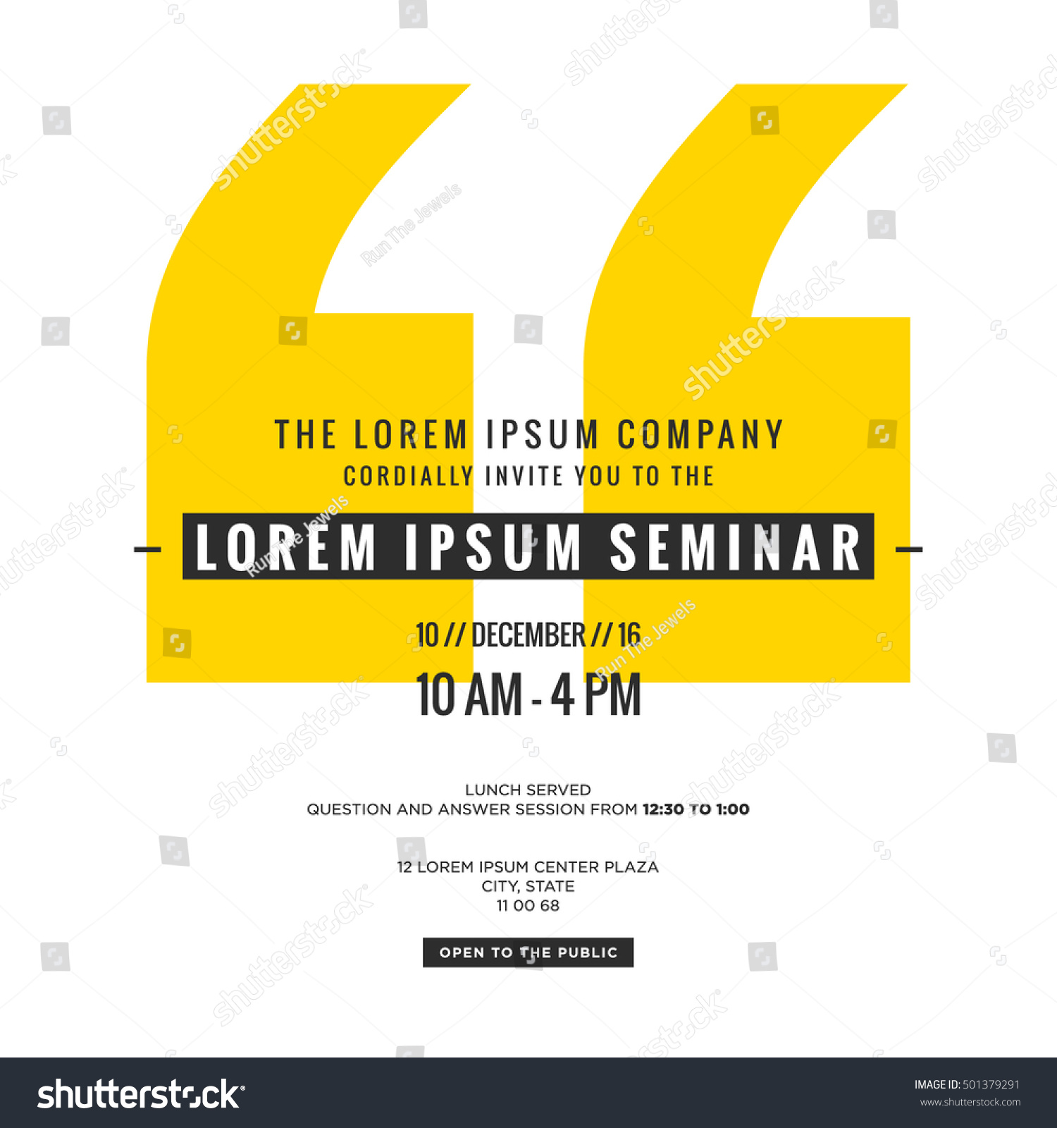 Business Seminar Invitation Design Template (With Time, Date And Venue  Details)