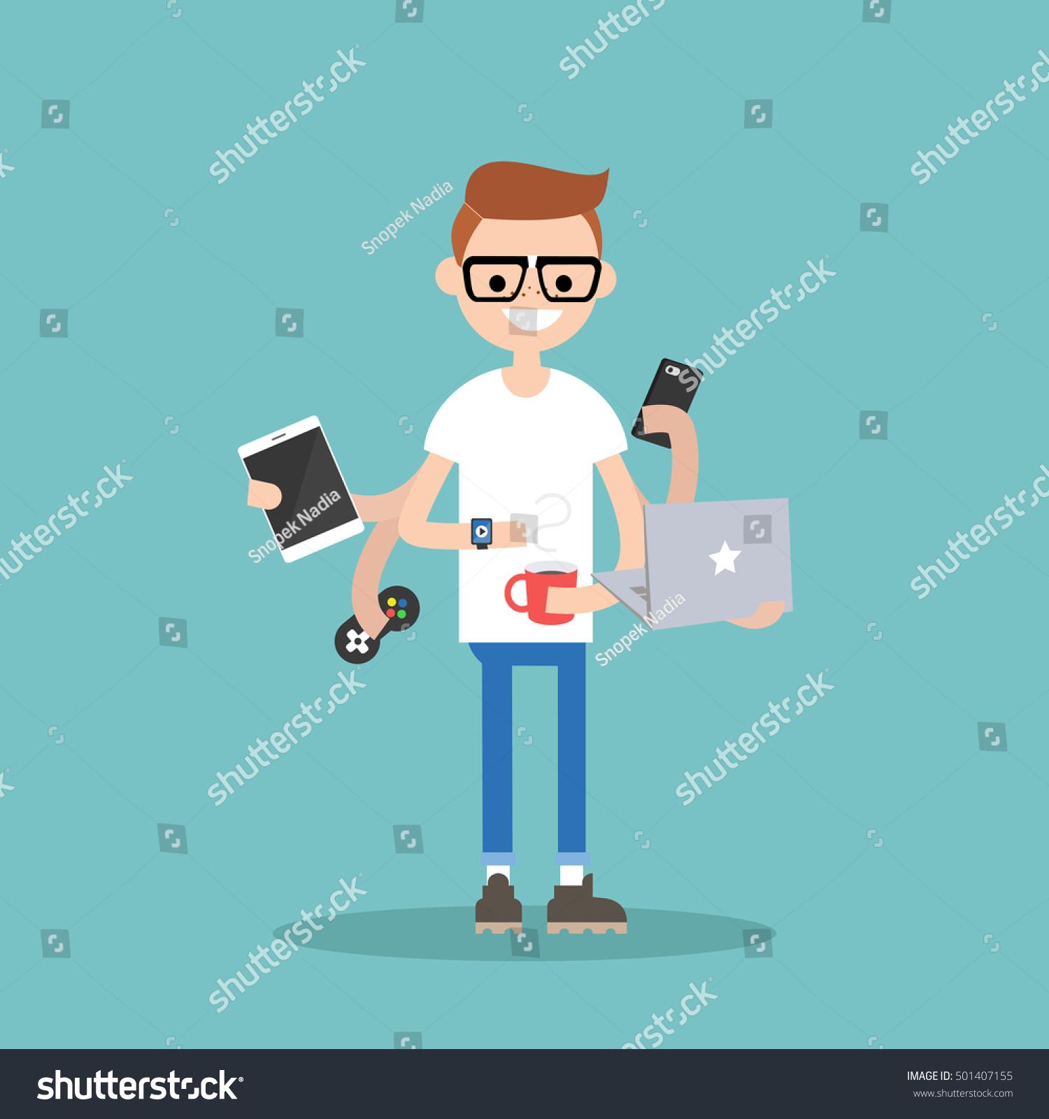 multitasking millennial concept young nerd using stock vector