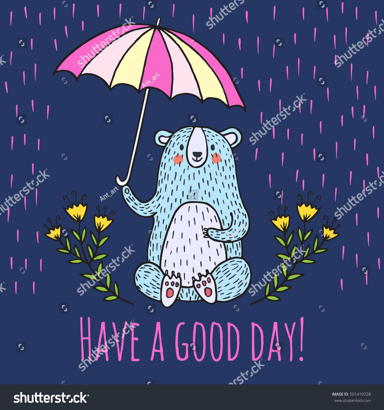 Have good day greeting card vector stock vector 501410728 have a good day greeting card vector illustration card with teddy bear and umbrella kristyandbryce Gallery