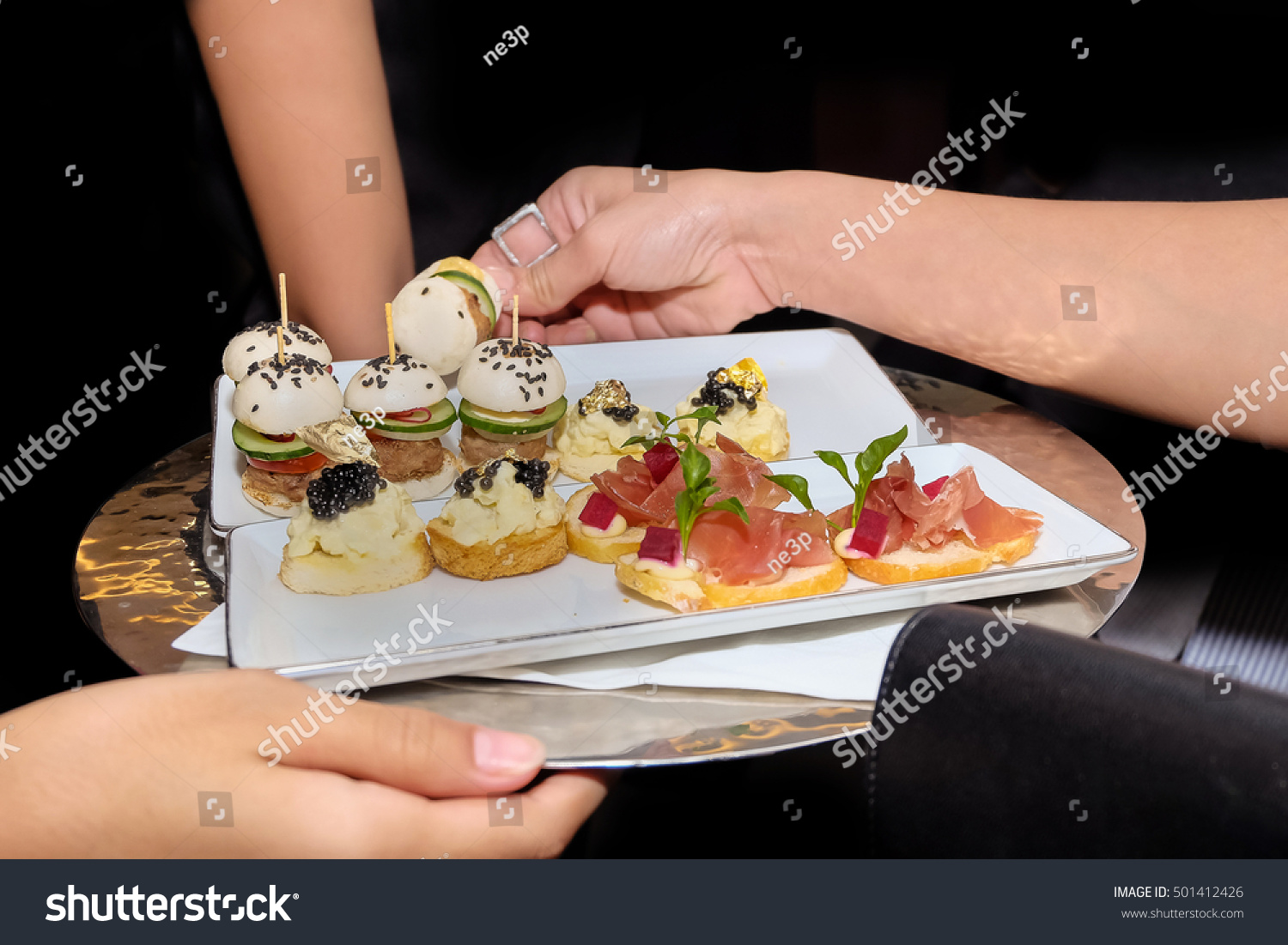 Fine canape selection service on tray stock photo for Canape selection