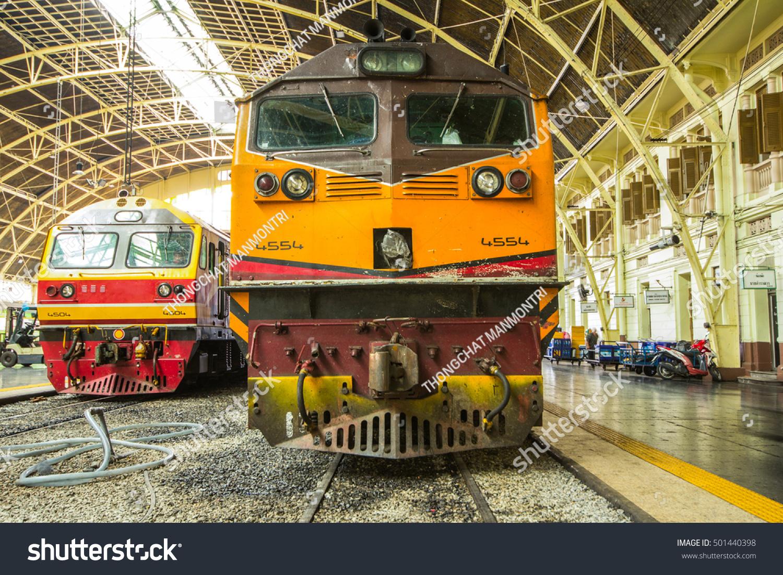 The Old Train In Thailand Vintage Bangkok Station Platform